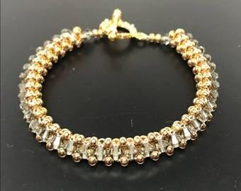 Black Diamond Swarovski Crystal and 22k Gold Bracelet