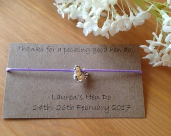 Thanks for a pecking good Hen Do personalised bracelet