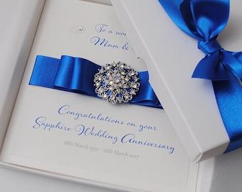 Luxury Sapphire Wedding Anniversary Card Handmade 45th Wedding Anniversary Card Boxed Card Personalised Wedding Anniversary Card