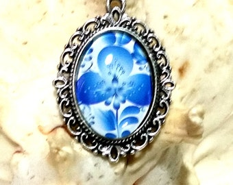 Filigree pendant with flower cabochon, flower, silver, white, blue