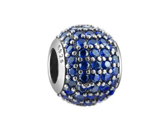Blue CZ Charm Bead, 925 Sterling Silver, fits Pandora Bracelets or Any Chain