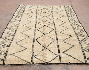 Beniourain Rug 7x11, Beni Ourain Rug, Moroccan Rug, Beni Ouarain Rug, Berber Rug, Berber Carpet, Berber Area Rug Black White Brown Beige Rug