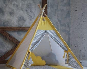 Kids teepee yellow gray - Play tent - Playhouse - Kids gift - Baby gift - Childrens gift - Boys play tent - Nursery decor