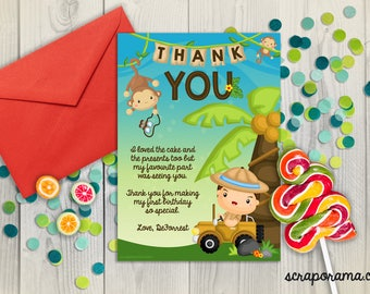 This little monkey is turning a wild one jungle safari  | 1st birthday thank you card