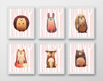 Woodland Animals Set of 6 Prints - Full Animal