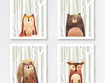 Woodland Animal Set 4 Prints - Half Animal - (Fox/Bear/Squirrel/Deer)