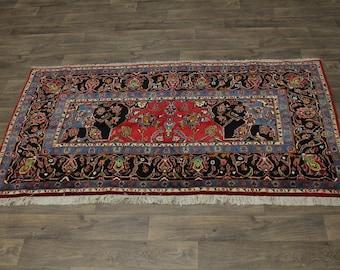 5X8 One of a Kind Corner Design Kashan Persian Rug Oriental Area Carpet 4'5X7'8