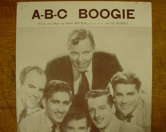 Sheet Music ABC Boogie Bill Haley and his Comets Music Sheet Antique Vintage Early Rock and Roll Rock A Billy