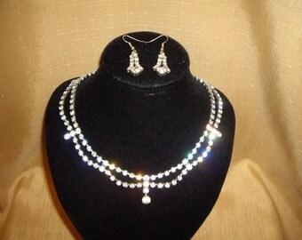 1950's Diamante Necklace & Earrings Set