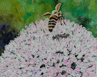 "Nature Bee Painting Art Acrylic Original // ""Symbiosis"" 40.6 x 40.6 x 4cm Deep box canvas by Juliette Anne"