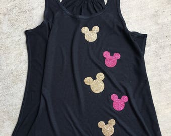 Mickey Mouse Glitter Tank Top / Racerback Tank Top / Disney Tank Top / Womens Tank Top / Minnie Mouse Tank Top