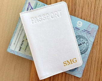 Personalized passport case, leather passport case, custom passport case, passport cases, custom passport case, passport case for her white