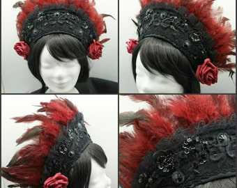 Kokoshnik dark red with dark red feathers / Frenchhood feathers