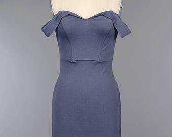 Off The Shoulder Open Back Sweetheart Neckline Body-con Dress/ Custom Back Cutout Knit Body-con Dress ( + Colors )