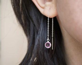 Rose Crystal Earrings, Swarovski Ear Threaders, Rose Earrings, Pink Ear Threaders, Crystal Ear Threaders, Crystal Drop Earrings