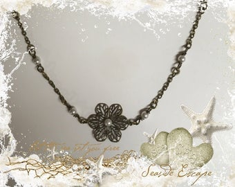 Brass Filigree Flower Necklace