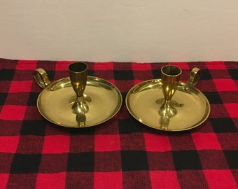 Vintage brass candle holders, candle holder, brass, decor, shabby chic, mid century, cottage, retro, handle,