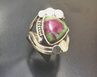Silver Ring Ruby Zoisite sterling Silver 925 thousandth size 51.5 euro ring Rubis Zoïsite us 5.75 swiss 11.5