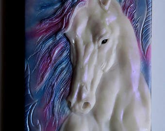 White horse, polymer clay journal, notebook, fantasy, 196 blank pages