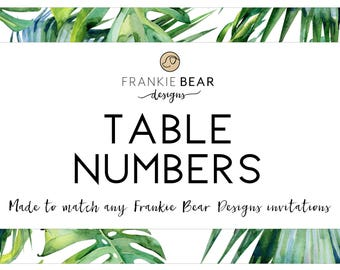 Matching table numbers, custom table numbers made to match any invitation, co-ordinating table numbers, wedding table number, printable, DIY