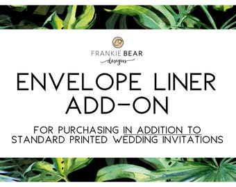 ENVELOPE LINER UPGRADE/add-on for Frankie Bear Design printed invitations. Matching envelope liners, printed