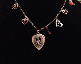 Handmade By Me Peace & Love Forever Charm Necklace