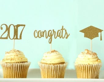 Graduation Cupcake Toppers - 2017 Cupcake Toppers - Congrats Cupcake Toppers - Graduation Cap Cupcake Toppers - Graduation Party Decor