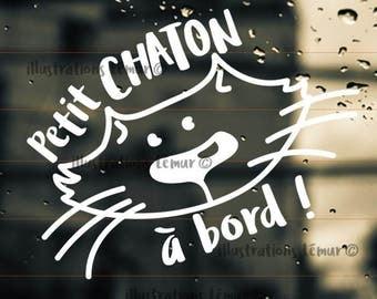 Cat sticker -windshield-vinyl-color custom-baby on board-Sticker on board-cat-