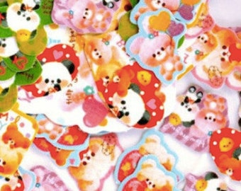 Q-Lia retro cartoon animal stickers seal flakes cute kawaii bears rabbits pandas