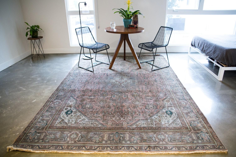 Vintage rug persian rug 9x6 rug area rug 6x9 rug neutral rug for Bathroom ideas 9x6