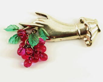 1940s Coro Sterling Silver Lucite Grapes  Brooch Pin - Fine Estate Jewelry - Rare Vintage Coro Grape Pins, Coro Jewelry, Figural Hand Brooch