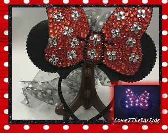 Bedazzled LIGHT UP LED Minnie Mouse Mickey Mouse Disney Inspired Rhinestone Bedazzled Bling Disney Rhinestone Minnie Light Up Mickey Ear