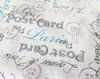 Postcard fabric, post script, postmark fabric, makower fabric, cotton fabric, quilting fabric, postcard