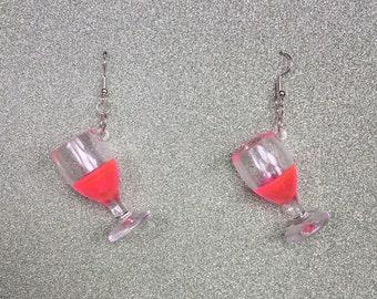 Rosé Wine Glass earrings