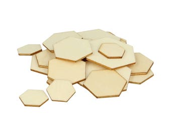 129 silhouettes hexagons wood gross 1 to 3 cm - hexagons wooden - wooden stand
