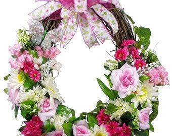 Spring Rose Wreath - Mother's Day Wreath - Spring Grapevine - Grapevine Wreath - Spring Wreath - Rose Decor - Front Door Wreath