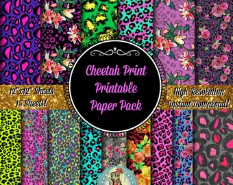Cheetah Print Digital Paper Pack, Animal Print, Cheetah Paper, Cheetah Birthday, Cheetah Party, Cheetah Bow, Instant Download, Digital