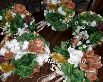 Bridal bouquet set of 5...brown, green, gold....gorgeous!