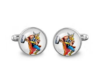 Thor Cuff Links Superhero Cuff Links 16mm Cufflinks Gift for Men Groomsmen Novelty Cuff links Wedding Cufflinks