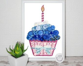 Cupcake Button Art Original, Crystals, Embellishments, Sparkle, Bright