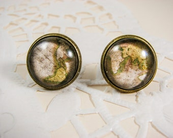 Whole World wide earrings, World Map earrings, Map jewelry, Globe earrings, Vintage map, Gift for traveler, Nickel free, Olive green, Glass