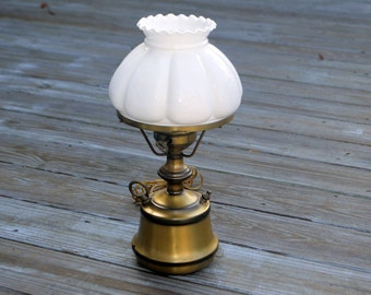 Vintage White Milk Glass Brass Lamp