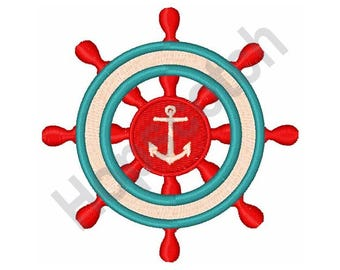 Pirate Ships Wheel And Anchor - Machine Embroidery Design
