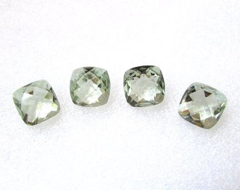 10mm Mint Green AMETHYST Cushion Checker Cut Faceted Gemstone