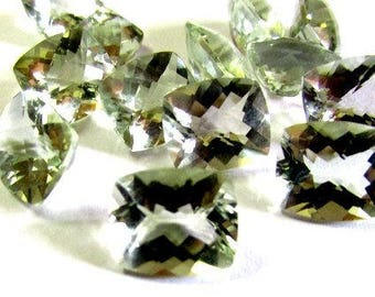 10x12mm Mint Green AMETHYST Cushion Checker Cut Faceted Gemstone