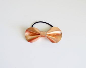 Rose Gold Leather Pony Bow (Small) // Leather Bow // Rose Gold Leather Bow