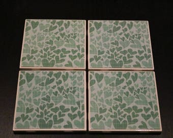 Green Tile Coasters ~ Heart Custom Coasters ~ Green Heart Coasters ~ 3Cstylesandprints ~ Green Ceramic Tile Coasters