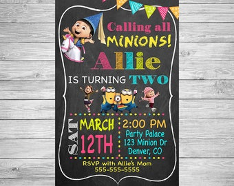 Minions Girl Birthday Invitation
