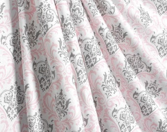 Elegant Pink Gray Curtain Panels Pink Nursery Curtains Window Treatments Baby Girl  Light Pink Shade Drapes Home
