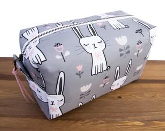 Box Bag - Large Makeup Bag - Cosmetic Bag - Makeup Case - Toiletry Bag - Womens Dopp Kit - Make Up Bag - Travel Bag - Bunnies #27